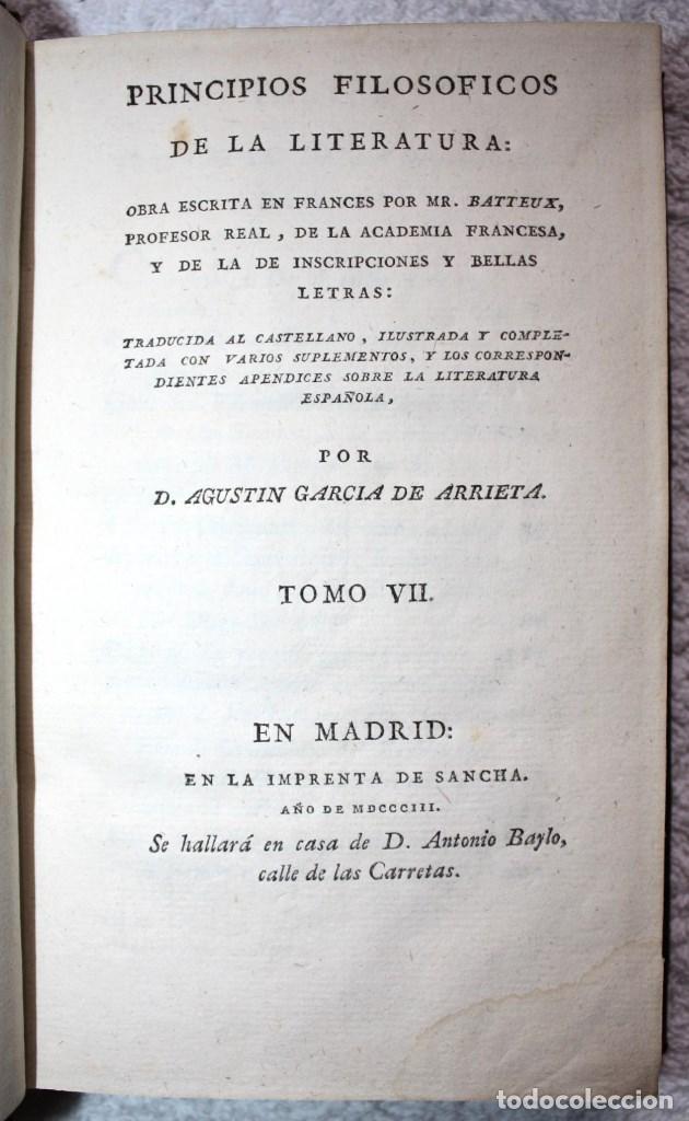 Libros antiguos: 2 VOL. 7 Y 8 PRINCIPIOS FILOSOFICOS DE LA LITERATURA, 1803, BATTEUX, AGUSTIN GARCIA DE ARRIETA - Foto 2 - 66516550