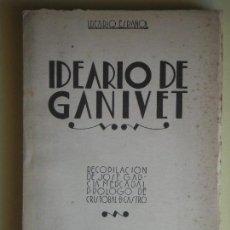Libros antiguos: IDEARIO DE GANIVET - JOSE GARCIA MERCADAL - COLLAGES EMMA COHEN - BIBLIOTECA NUEVA, 1936 . Lote 78377161