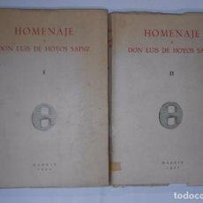 Libros antiguos: HOMENAJE A DON LUIS DE HOYOS SÁINZ. TOMO I Y TOMO II. MADRID 1949 - 1950. TDK120. Lote 81618900