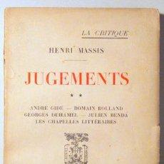 Libros antiguos: MASSIS, HENRI - JUGEMENTS ** - PARIS 1924. Lote 85968150