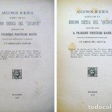 """Libros antiguos: RODRÍGUEZ MARÍN, FRANCISCO. ALGUNOS JUICIOS ACERCA DE LA EDICIÓN CRÍTICA DEL """"QUIJOTE""""... 1918.. Lote 86349492"""