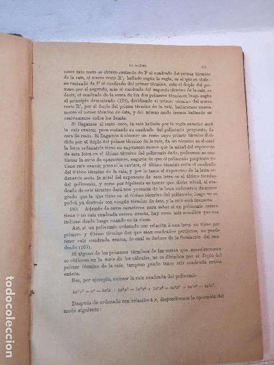 Libros antiguos: Lecciones de algebra Alfredo Sanchez Benito madrid 1898 tomo I 5º ed. buen estado - Foto 3 - 90063628