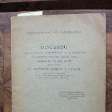 Libros antiguos: BREVES CONSIDERACIONES SOBRE LUIS DE LEÓN COMO POETA LÍRICO. DISCURSO...ANTONIO RUBIÓ Y LLUCH. 1928.. Lote 91060535