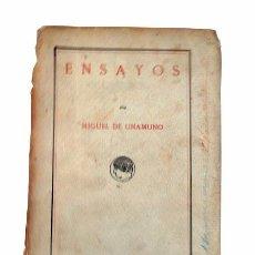 Libros antiguos: LIBRO ENSAYOS.-MIGUEL UNAMUNO. 1916. Lote 101032095