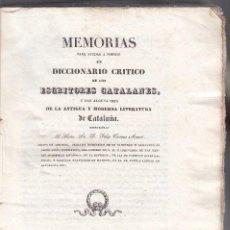 Libros antiguos: F. TORRES AMAT. MEMORIA PARA FORMAR UN DICCIONARIO DE ESCRITORES CATALANES. BARCELONA, 1836. NUEVO. Lote 103252459