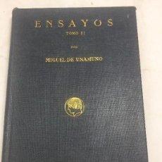 Libros antiguos: MIGUEL UNAMUNO ENSAYOS 1º EDICIÓN RESIDENCIA ESTUDIANTES MADRID 1916 TOMO II MUY BUENA CONSERVACIÓN. Lote 104279951