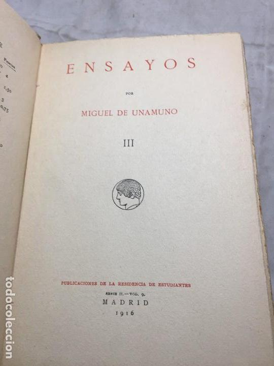 Libros antiguos: Miguel de Unamuno Ensayos tomo III residencia de estudiantes buen estado completo intonso - Foto 4 - 109505607