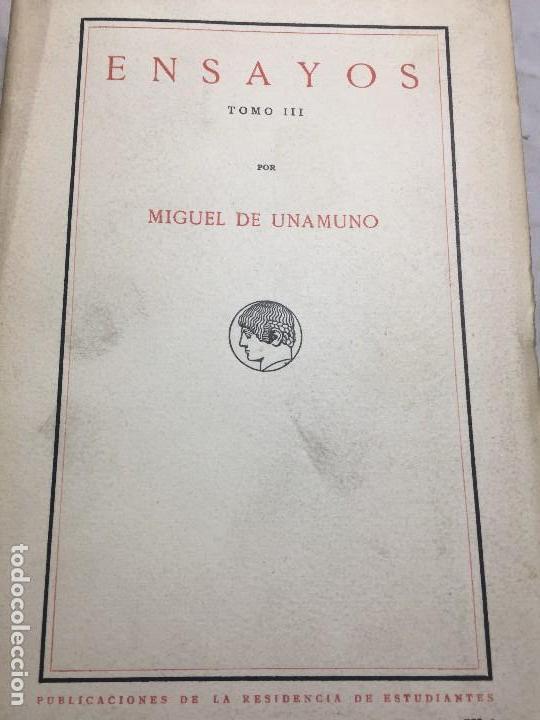 MIGUEL DE UNAMUNO ENSAYOS TOMO III RESIDENCIA DE ESTUDIANTES BUEN ESTADO COMPLETO INTONSO (Libros antiguos (hasta 1936), raros y curiosos - Literatura - Ensayo)
