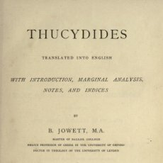 Libros antiguos: THUCYDIDES TRANSLATED INTO ENGLISH. WITH INTRODUCTION, MARGINAL ANALYSIS, NOTES, AND INDICES. 2 VOLU. Lote 114547103
