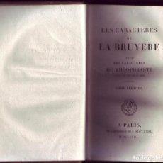 Libros antiguos: LES CARACTERES DE LA BRUYERE (TOMO 1 Y 2) DESCRIPCIÓN. PARÍS, 1813, L´IMPRIMERIE DE P. DIDOT L´AINÉ.. Lote 114837679