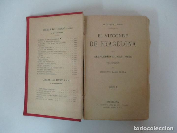 Libros antiguos: El Vizconde de Bracelona - A. Dumas - 6 Tomos - Completa - Foto 4 - 127436911