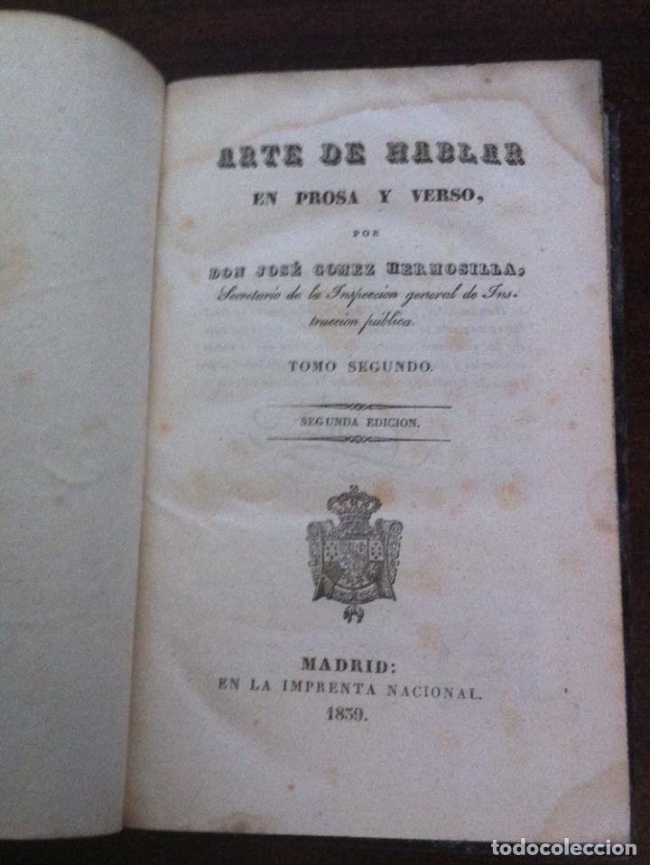 Libros antiguos: Arte de hablar en prosa y verso (Tomo II) - José Gómez Hermosilla - Segunda Edición - Madrid, 1839 - Foto 2 - 131025604