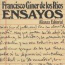 Libros antiguos: ENSAYOS DE FRANCISCO GINER DE LOS RIOS . Lote 134902070