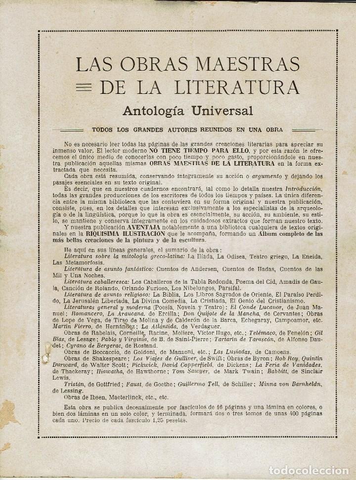 Libros antiguos: LAS OBRAS MAESTRAS DE LA LITERATURA.ANTOLOGÍA UNIVERSAL,DE GUILLERMO DE BOLADERES.TOMO I. 192?(11.8) - Foto 8 - 139991794