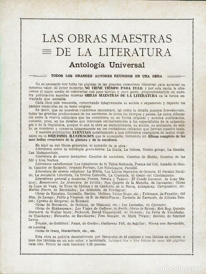 Libros antiguos: LAS OBRAS MAESTRAS DE LA LITERATURA. ANTOLOGÍA UNIVERSAL,DE GUILLERMO DE BOLADERES.TOMOII.192?(11.8) - Foto 2 - 140124878