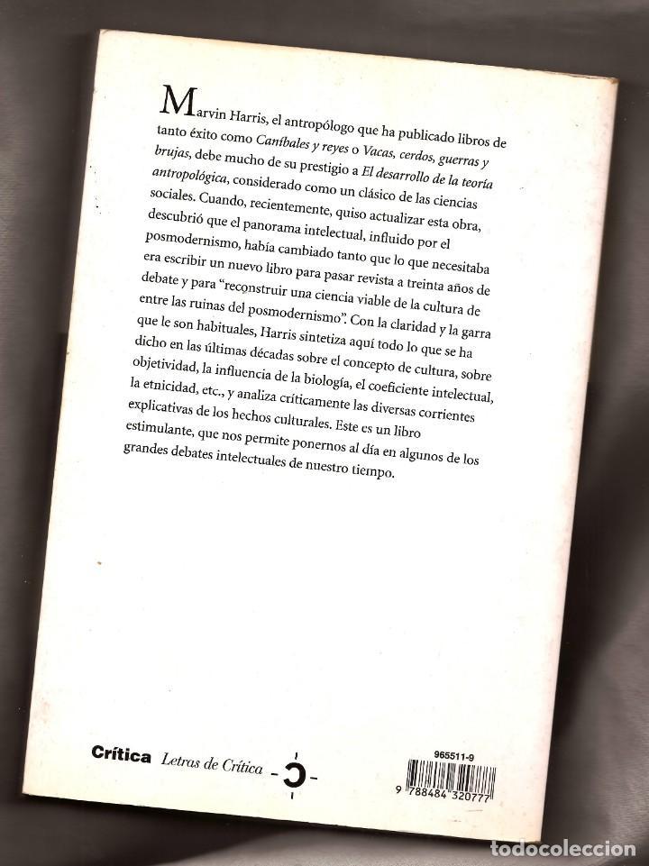 Libros antiguos: TEORÍAS SOBRE LA CULTURA EN LA ERA POSMODERNA - MARVIN HARRIS – ED. CRÍTICA, 2000 - Foto 2 - 147697210