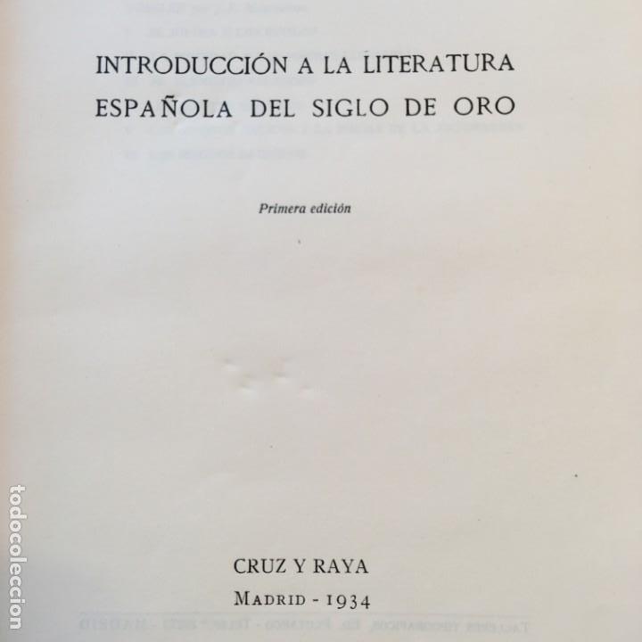 Libros antiguos: Karl Vossler. Introducción a la literatura española del Siglo de oro. Cruz y Raya, 1934. Dedicatoria - Foto 3 - 149807386