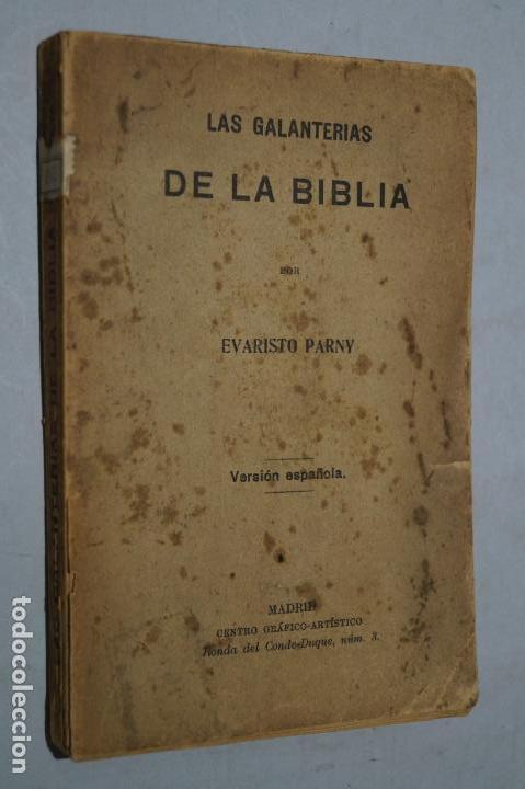 LAS GALANTERIAS DE LA BIBLIA. LAS DELICIAS DEL CLAUSTRO. EVARISTO PARNY. (Libros antiguos (hasta 1936), raros y curiosos - Literatura - Ensayo)
