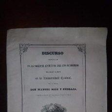 Libros antiguos: DISCURSO EN LA SOLEMNE APERTURA DEL AÑO ACADÉMICO 1852-53 EN LA UNIVERSIDAD CENTRAL. Lote 158991014