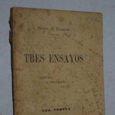 Libros antiguos: TRES ENSAYOS. MIGUEL DE UNAMUNO. 1900. Lote 160006802