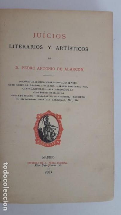 Libros antiguos: JUICIOS LITERARIOS Y ARTÍSTICOS. 1ª edición, 1883. - Foto 5 - 168128776