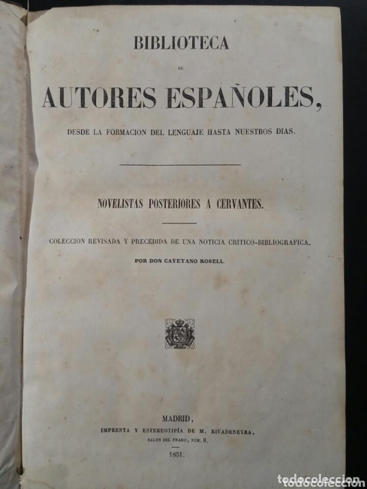 NOVELISTAS POSTERIORES A CERVANTES 1851 BIBLIOTECA AUTORES ESPAÑOLES (Libros antiguos (hasta 1936), raros y curiosos - Literatura - Ensayo)