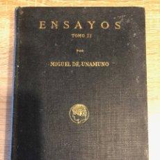 Libros antiguos: ENSAYOS. TOMO II. MIGUEL DE UNAMUNO. PUBLICACION DE RESIDENCIA DE ESTUDIANTES.MADRID,1916. PAGS: 241. Lote 177195315