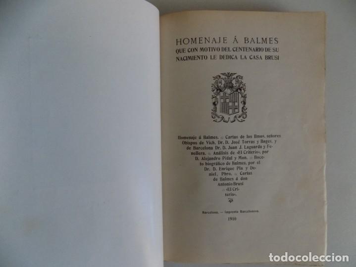 Libros antiguos: LIBRERIA GHOTICA. HOMENAJE A BALMES. LA CASA BRUSI 1910.FOLIO. EDICIÓN NUMERADA EN PIEL. - Foto 4 - 178825705