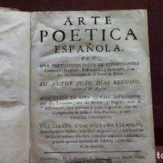 Libros antiguos: JUAN DIAZ RENGIFO ARTE POETICA ESPAÑOLA 1759. Lote 179056961