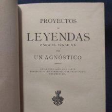 Libros antiguos: PROYECTOS DE LEYENDAS PARA EL SIGLO XX POR UN AGNÓSTICO. DE LA VIDA. DE LA MUERTE. VELOCÍPEDO 1881. Lote 179126332