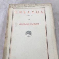 Libros antiguos: MIGUEL DE UNAMUNO ENSAYOS TOMO V RESIDENCIA DE ESTUDIANTES BUEN ESTADO 1ª EDICIÓN 1917. Lote 181433561