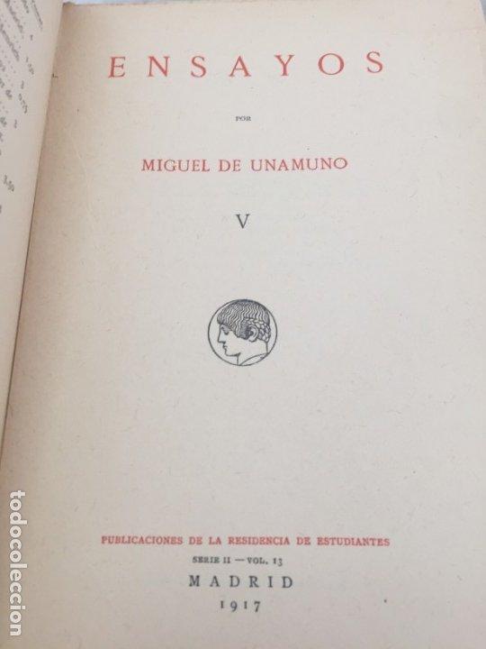 Libros antiguos: Miguel de Unamuno Ensayos tomo V residencia de estudiantes buen estado 1ª edición 1917 - Foto 2 - 181433561