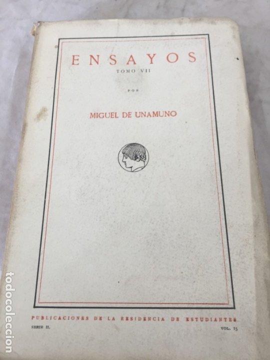 MIGUEL DE UNAMUNO ENSAYOS TOMO VII RESIDENCIA DE ESTUDIANTES BUEN ESTADO 1ª EDICIÓN 1918 (Libros antiguos (hasta 1936), raros y curiosos - Literatura - Ensayo)