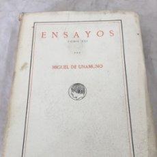 Libros antiguos: MIGUEL DE UNAMUNO ENSAYOS TOMO VII RESIDENCIA DE ESTUDIANTES BUEN ESTADO 1ª EDICIÓN 1918. Lote 181433633