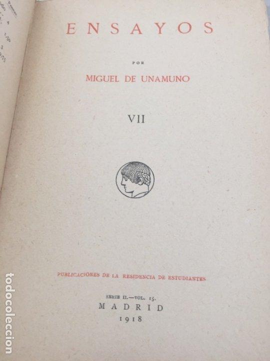 Libros antiguos: Miguel de Unamuno Ensayos tomo VII residencia de estudiantes buen estado 1ª edición 1918 - Foto 2 - 181433633