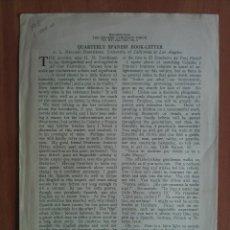 Libros antiguos: 1930 QUARTERLY SPANISH BOOK-LETTER - PEQUEÑO OPÚSCULO EN INGLÉS Nº 3. Lote 182013045