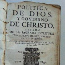 Libros antiguos: POLITICA DE DIOS Y GOBIERNO DE CHRISTO. 1729. FRANCISCO DE QUEVEDO. Lote 183776348