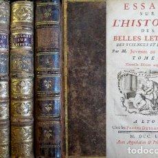 Libros antiguos: JUVENEL, FELIX. ESSAIS SUR L'HISTOIRE DES BELLES LETTRES, DES SCIENCES ET DES ARTS. 4 TOMOS. 1757.. Lote 183776410