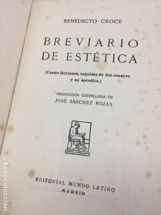 Libros antiguos: BREVIARIO DE ESTETICA BENEDETTO CROCE MUNDO LATINO EX LIBRIS RUFINO AGUIRRE IBAÑEZ - Foto 3 - 184398151