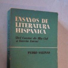 Libros antiguos: ENSAYO DE LITERATURA HISPANICA. PEDRO SALINAS. Lote 184511438