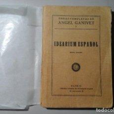 Libros antiguos: ÁNGEL GANIVET. IDEARIUM. VICTORIANO SUÁREZ 1933. FIRMA DEL AUTOR EN TAMPÓN. GENERACIÓN DEL 98.. Lote 186027652