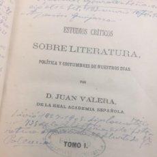 Libros antiguos: ESTUDIOS CRITICOS SOBRE LITERATURA. VALERA, JUAN. 2 TOMOS EN UN VOLUMEN. 1ª ED. 1864. Lote 189395898