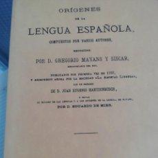 Libros antiguos: ORÍGENES DE LA LENGUA ESPAÑOLA. Lote 193786985