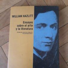 Libros antiguos: ENSAYOS SOBRE EL ARTE Y LA LITERATURA. WILLIAM HAZLITT. ED. ESPASA - CALPE, MADRID, 2004.. Lote 194126017