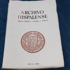 Libros antiguos: ARCHIVO HISPALENSE N 199 REVISTA HISTÓRICA, LITERARIA ARTISTICA 1982 MONOGRAFICO JUAN RAMÓN JIMÉNEZ . Lote 194198576