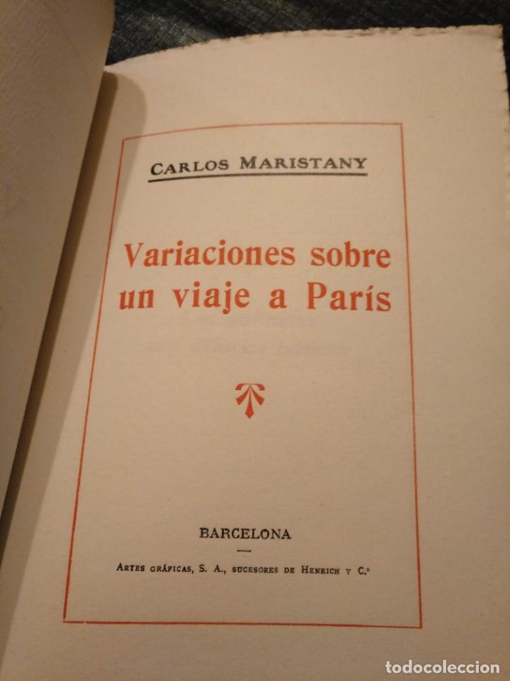 Libros antiguos: VARIACIONES SOBRE UN VIAJE A PARIS (1924) - CARLOS MARISTANY - Foto 2 - 195127671