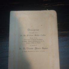 Libros antiguos: VICENTE BLASCO IBÁÑEZ-HOMENAJE EN VALENCIA. 1921. DISCURSO W.MILLER-UNIVERSIDAD G.WASHINGTON. Lote 198745032