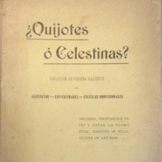 Libros antiguos: PEDRO PIDAL ... ¿QUIJOTES O CELESTINAS? ... 1917. Lote 198833873