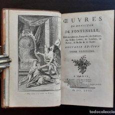 Libros antiguos: 1767 - ENSAYOS MISCELÁNEOS DE FONTENELLE - CON 2 GRABADOS - ORIGEN DE LOS MITOS - EXISTENCIA DE DIOS. Lote 204641500