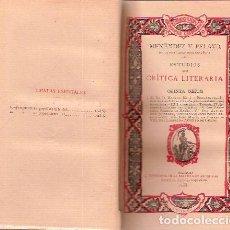 Libros antiguos: MENÉNDEZ Y PELAYO, M. - ESTUDIOS DE CRÍTICA LITERARIA. QUINTA SERIE - PRIMERA EDICIÓN 1900. Lote 204657110